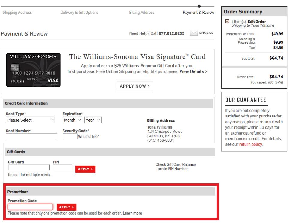 William Sonoma Coupons 01
