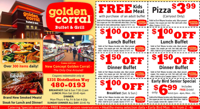 graphic relating to Coupon for Golden Corral Buffet Printable called 50% OFF Golden Corral Discount coupons, Promo Codes Promotions Sep-2019